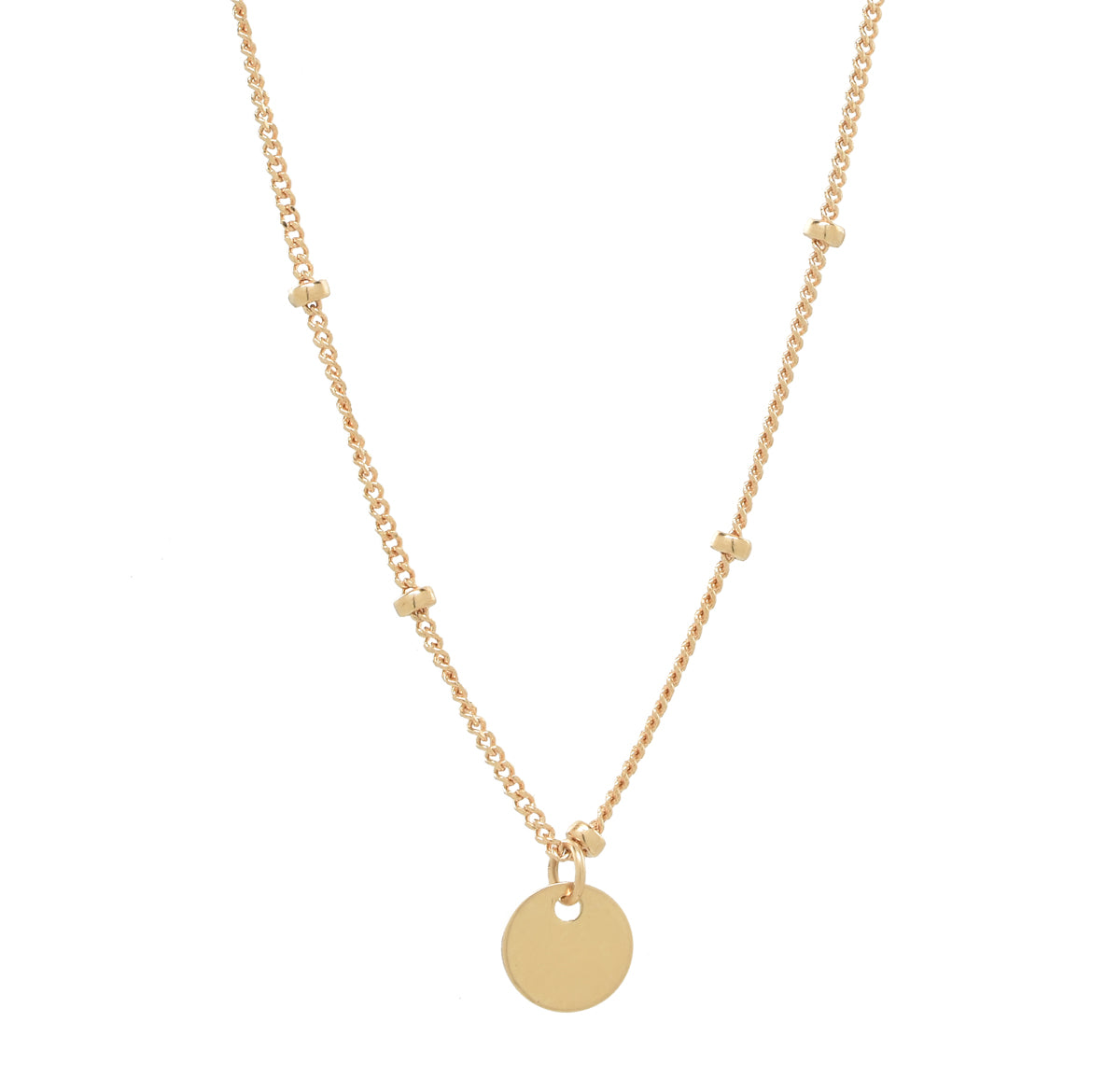 Solid Gold Tiny Disc Ball Chain Necklace