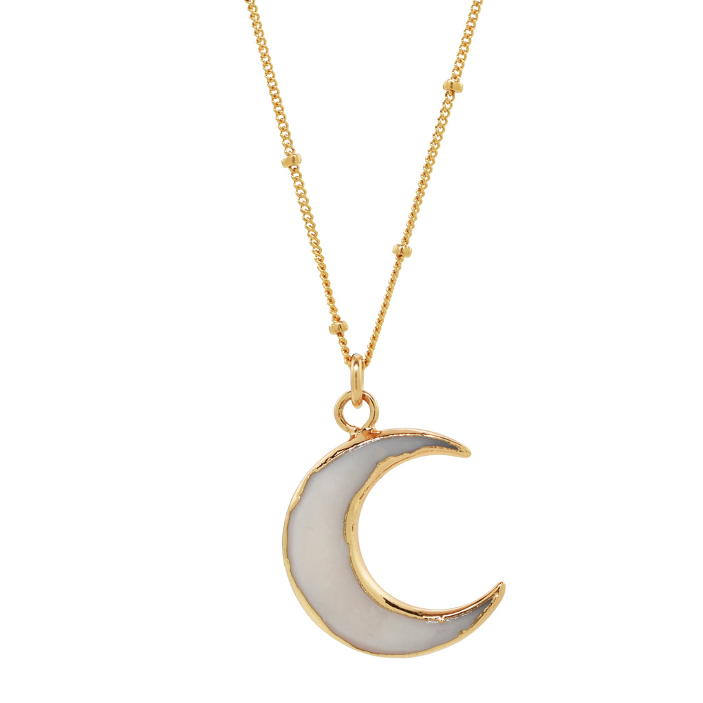Gold Dipped Crescent Stone Moon Necklace