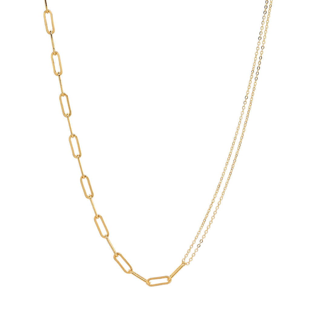 Split Oval Link & Double Thin Chain Necklace