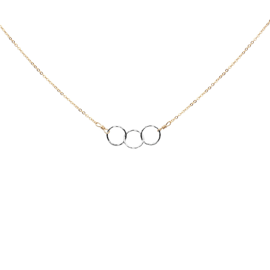 Tiny Triple Diamond Cut Circles Necklace
