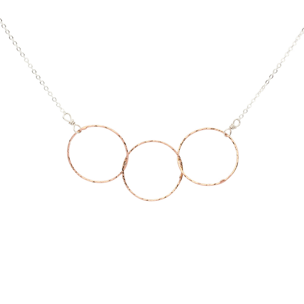 SALE - 2-Tone Triple Diamond Cut Circles Necklace
