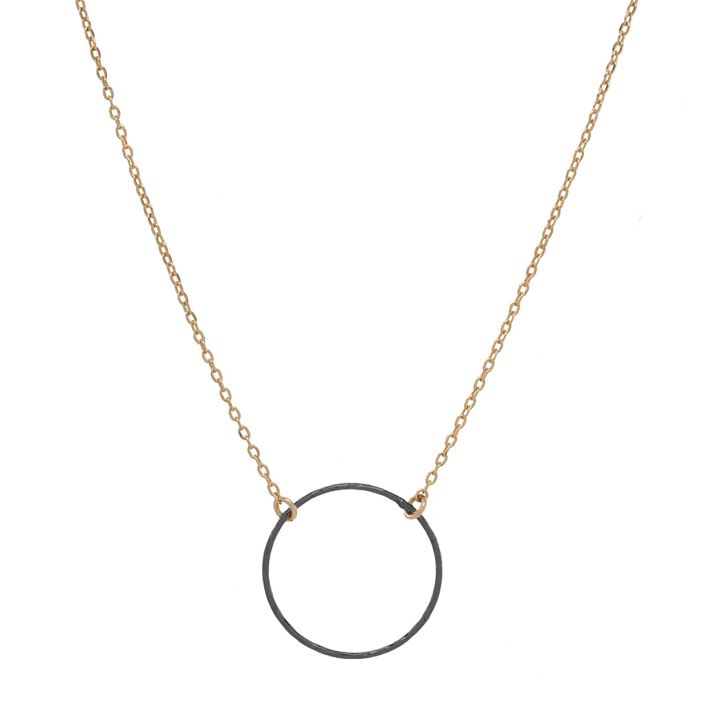 SALE - 2-Tone Single Diamond Cut Circle Necklace