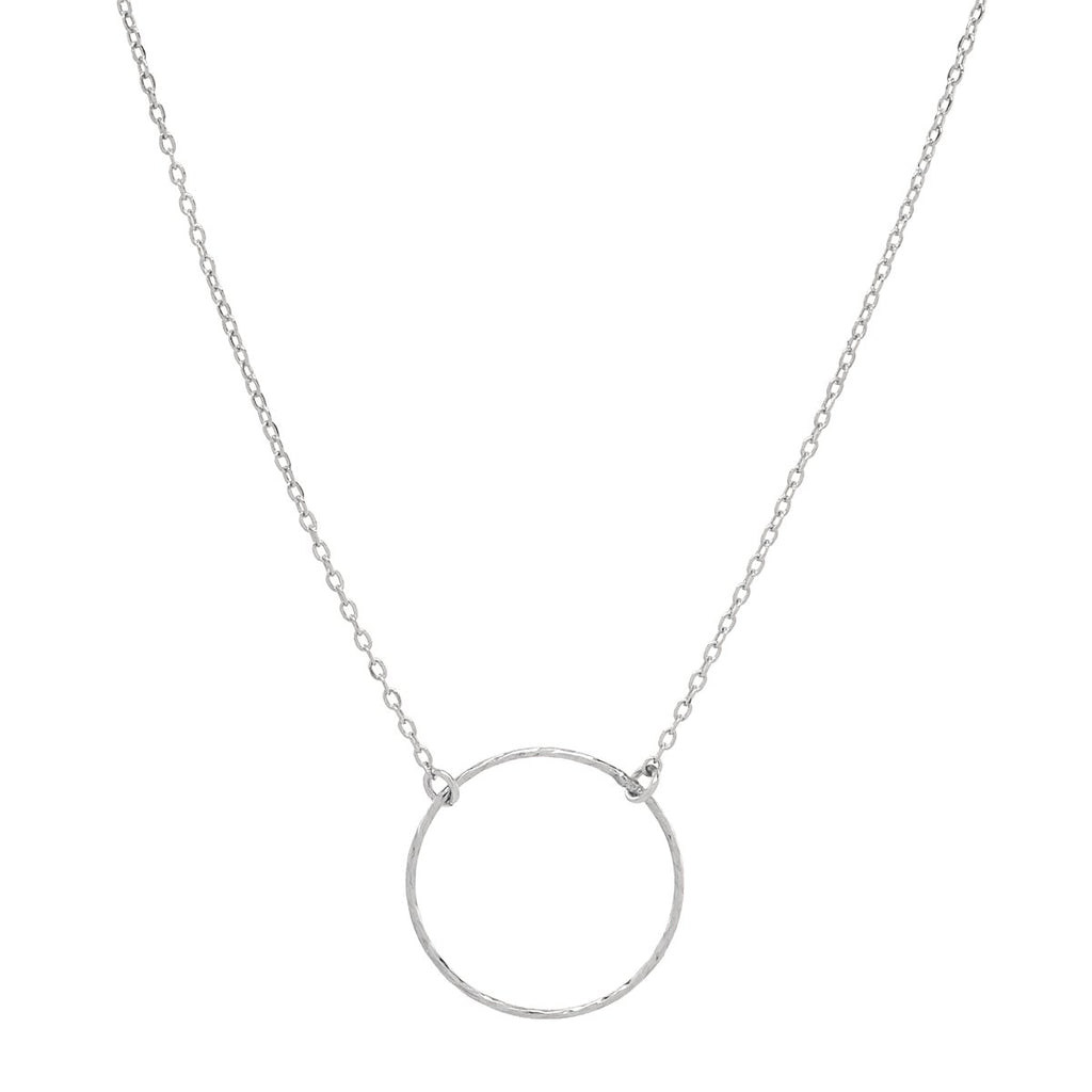 Single Diamond Cut Circle Necklace