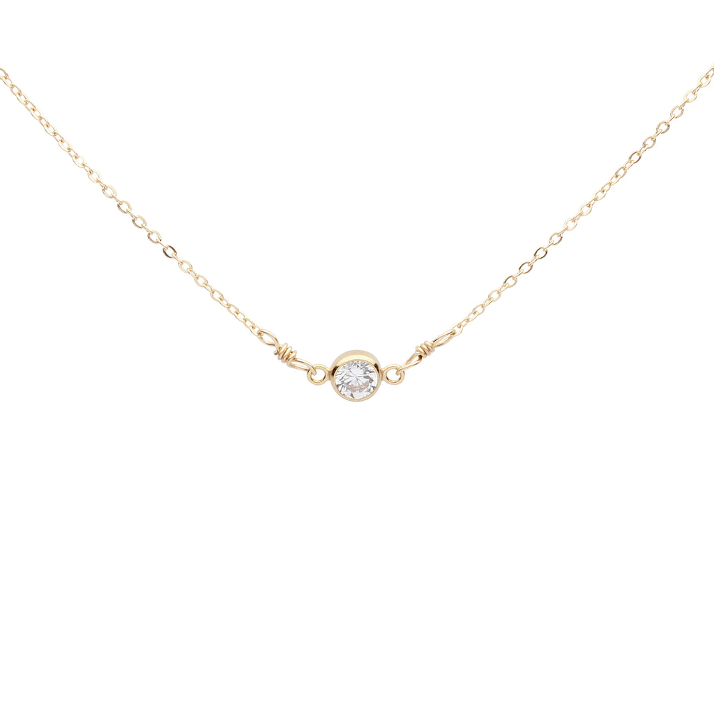 4mm Round CZ Bezel Link Necklace