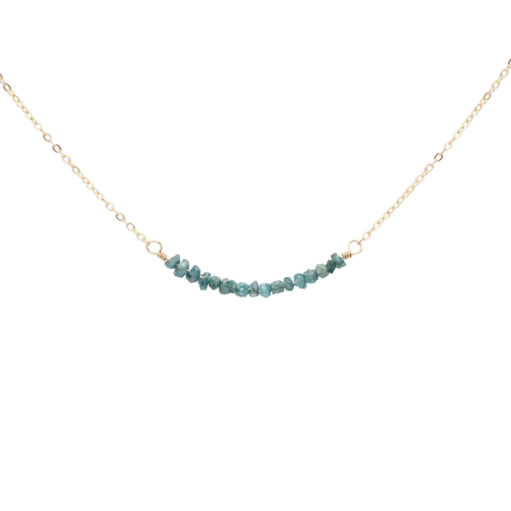 Blue Raw Unpolished Diamond Bar Necklace