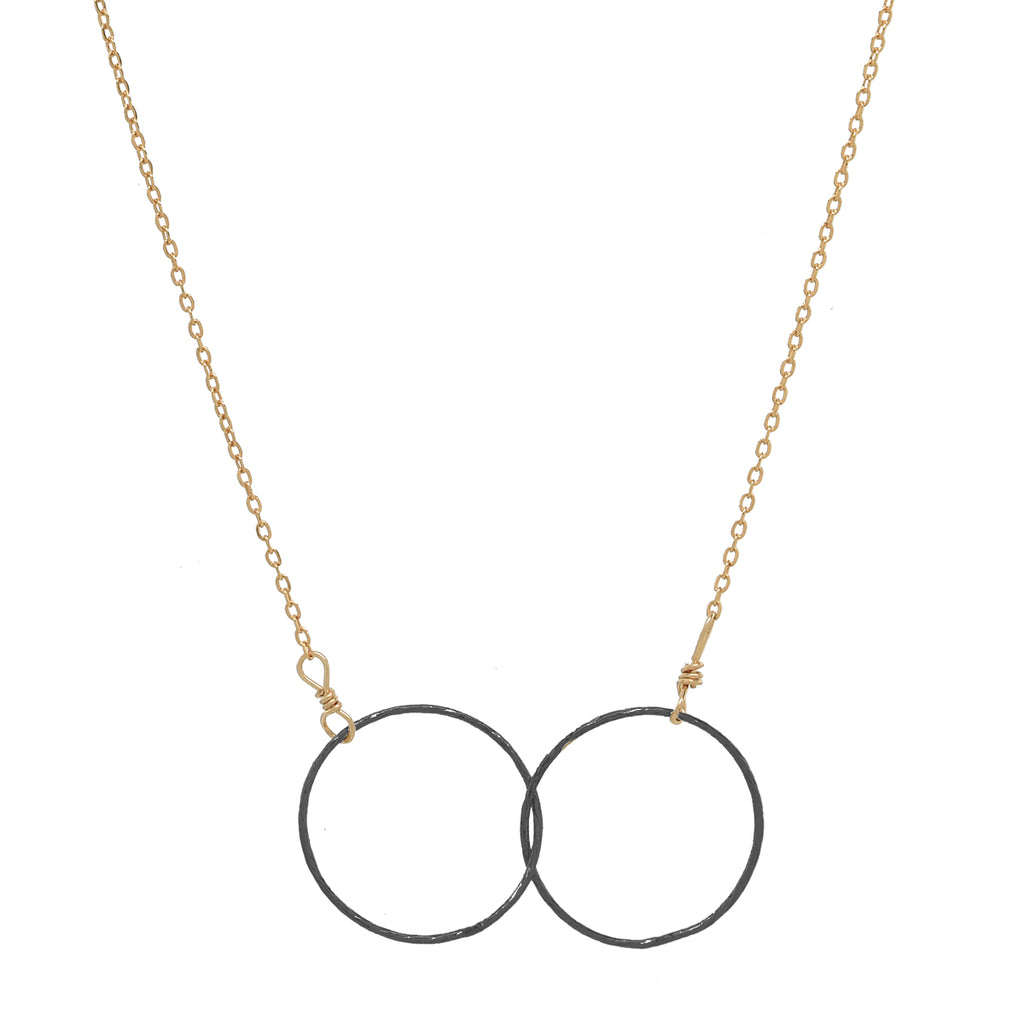 SALE - 2-Tone Double Diamond Cut Interlocking Circles Necklace