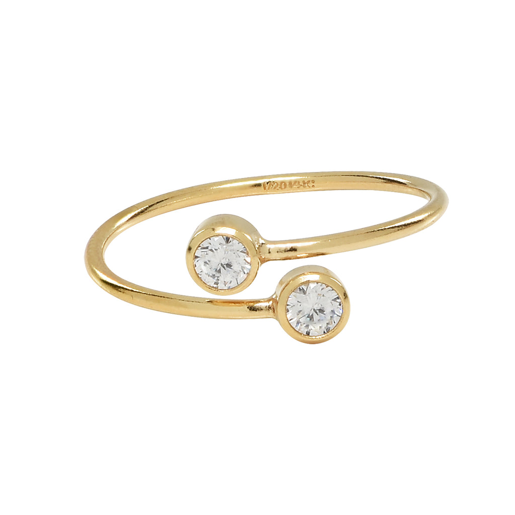 Double CZ Adjustable Ring