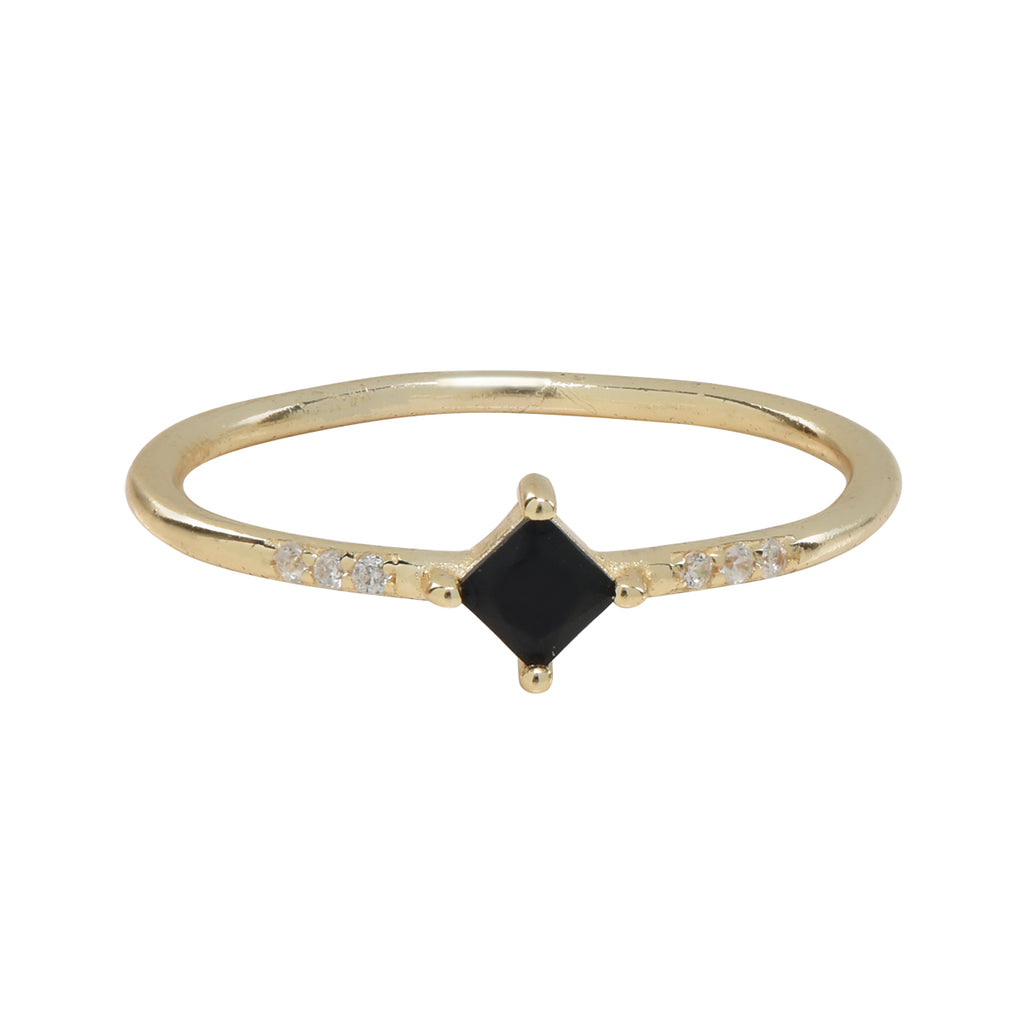 SALE - Black CZ Diamond / Tri CZ Ring