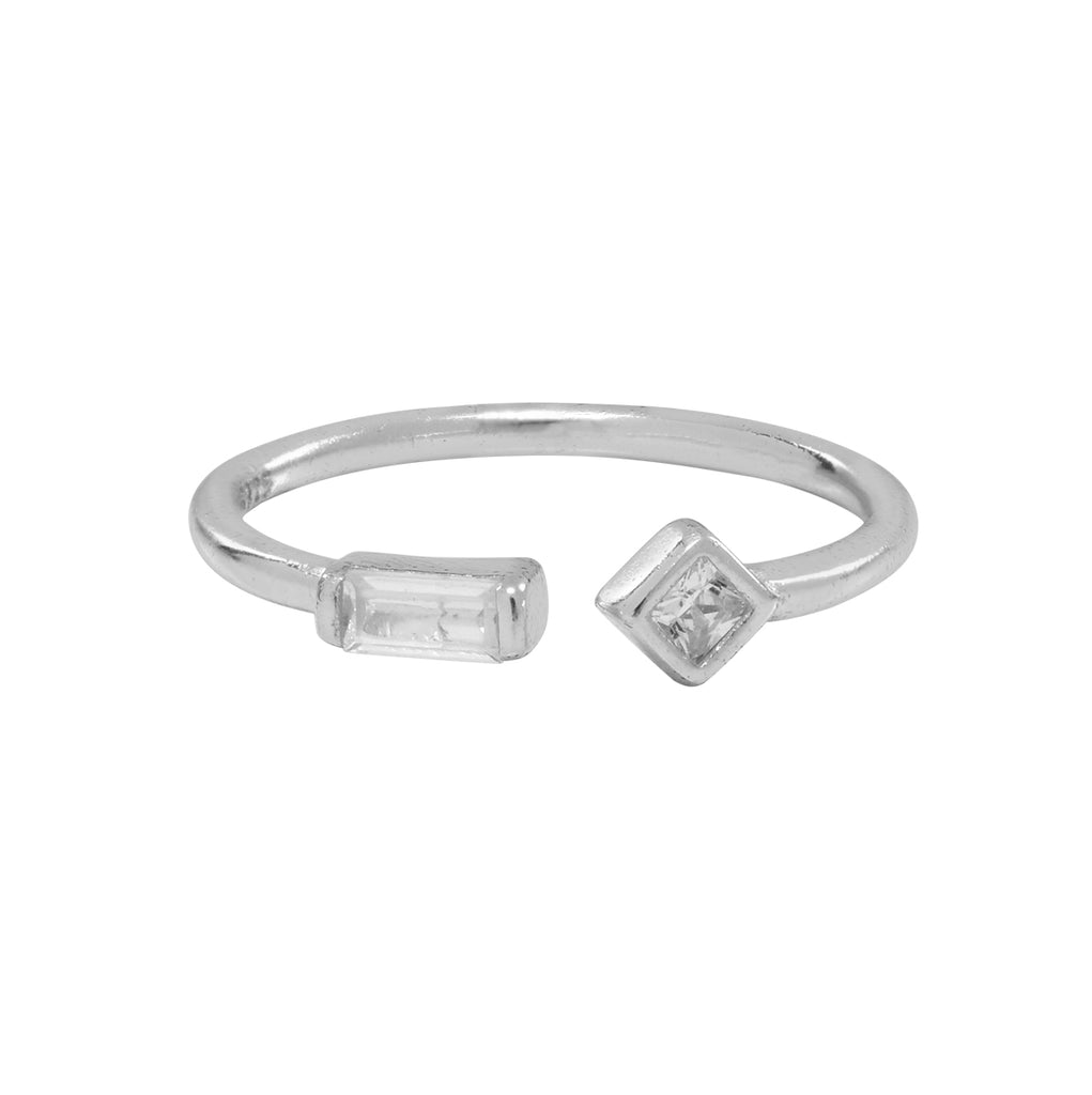 CZ / Baguette Diamond Open Band Ring