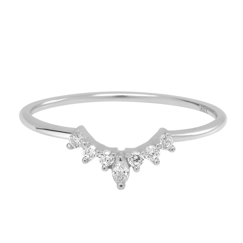10k Solid Gold CZ Tiara Ring