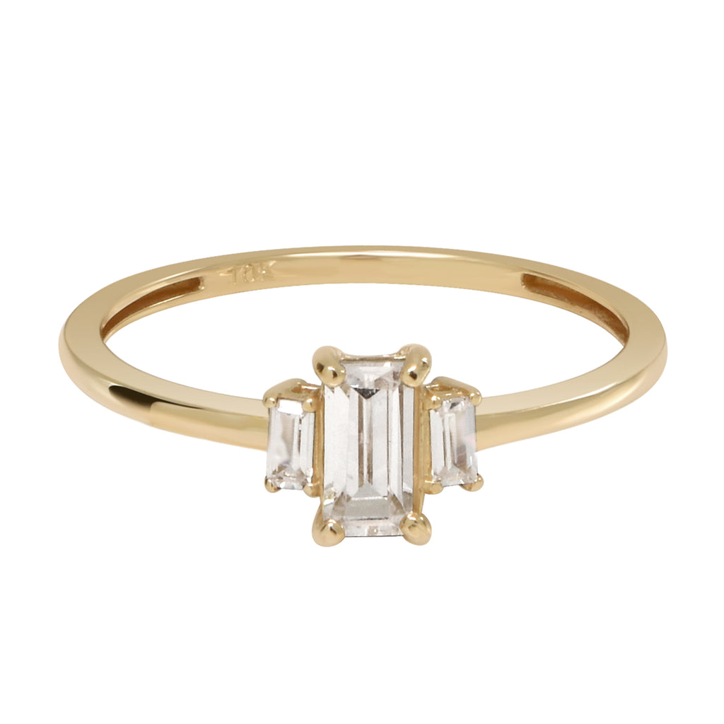 10k Solid Gold CZ Baguette Trapezoid Ring