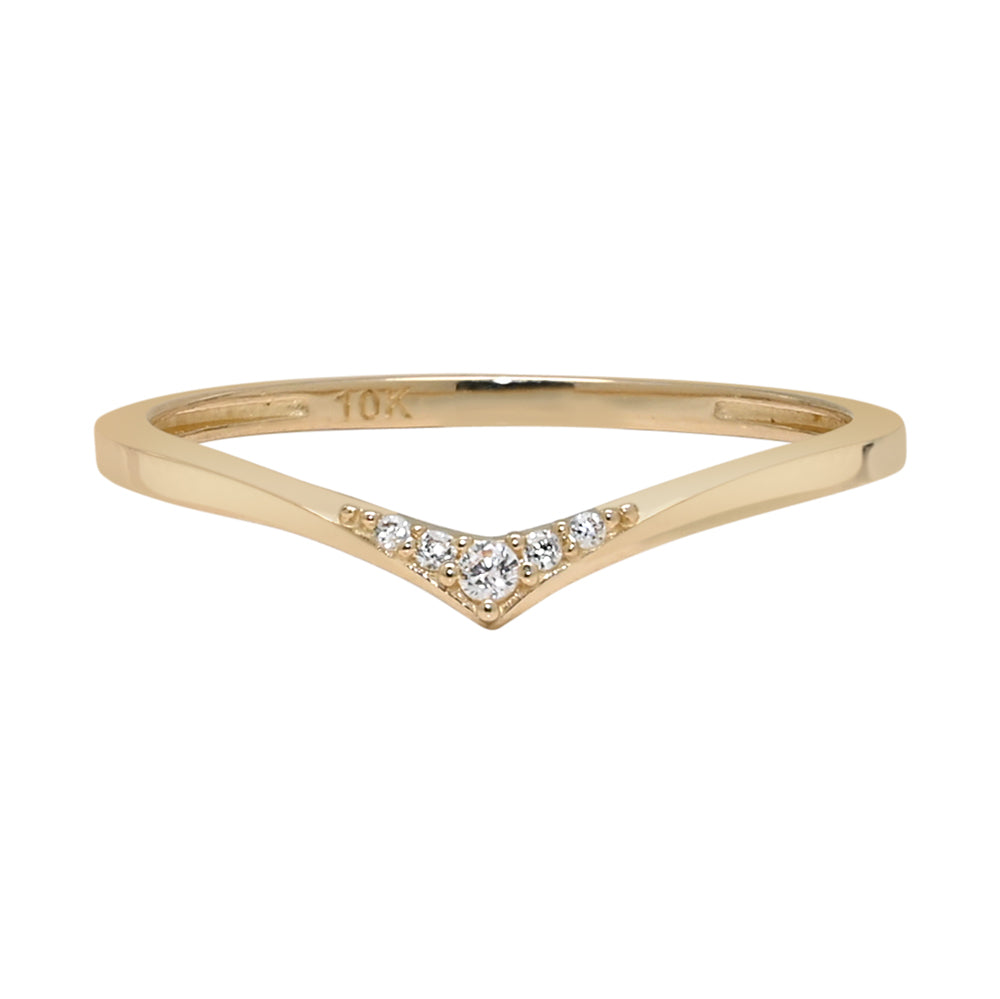 10k Solid Gold Multi CZ Chevron Ring