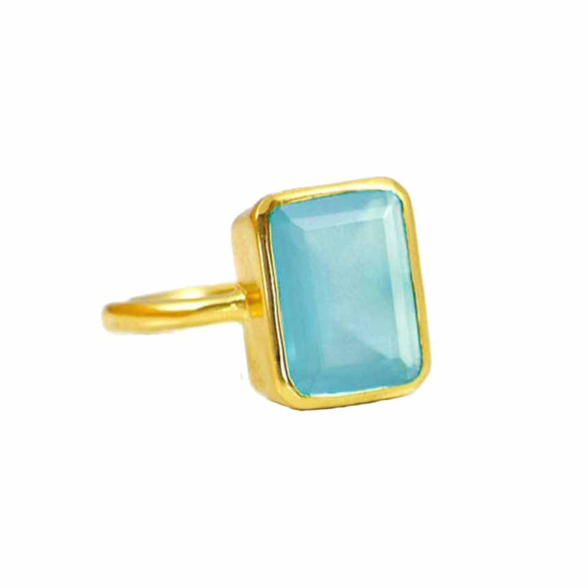 SALE - Large Blue Chalcedony Baguette Gold Bezel Ring