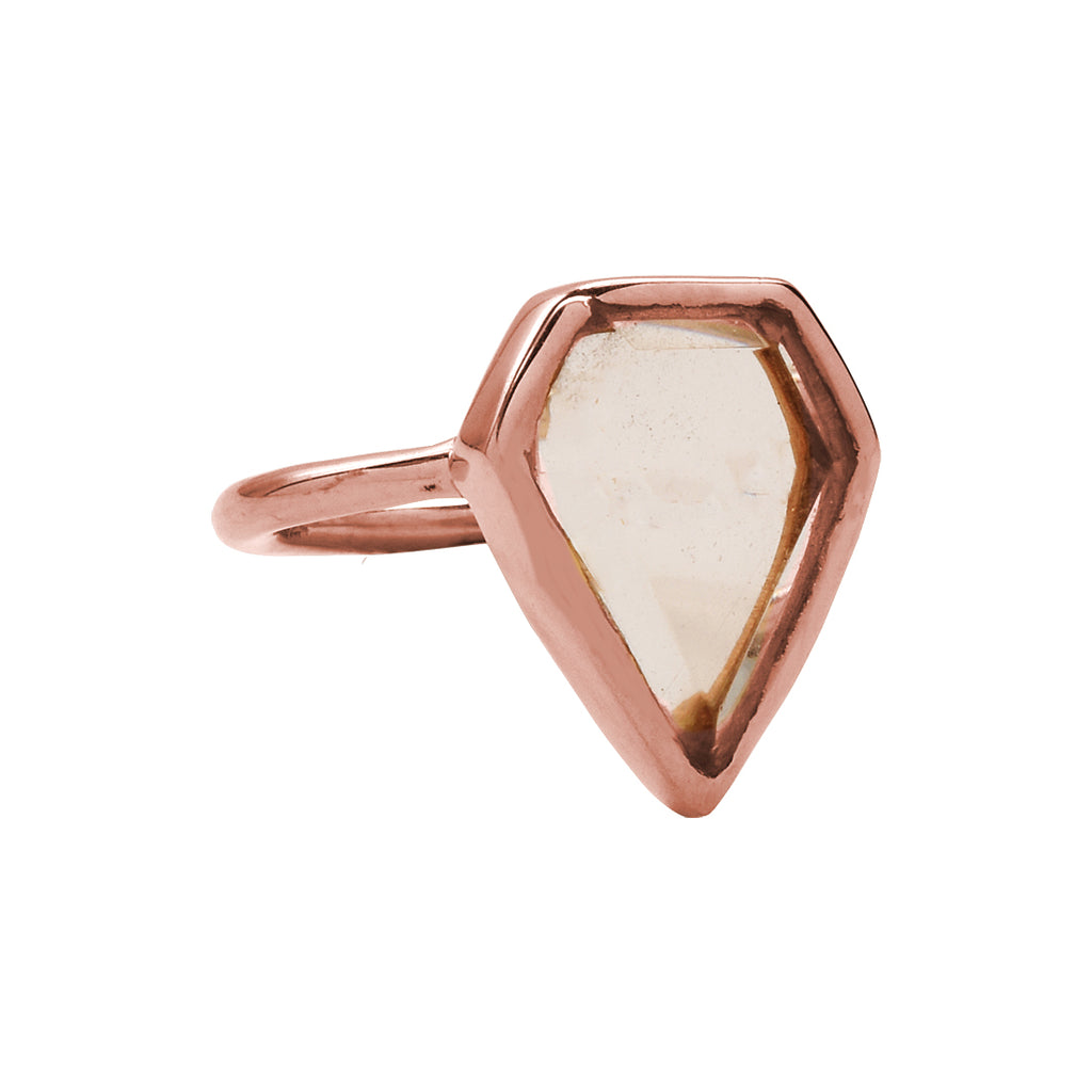 SALE - Morganite Diamond Shape Rose Gold Bezel Ring
