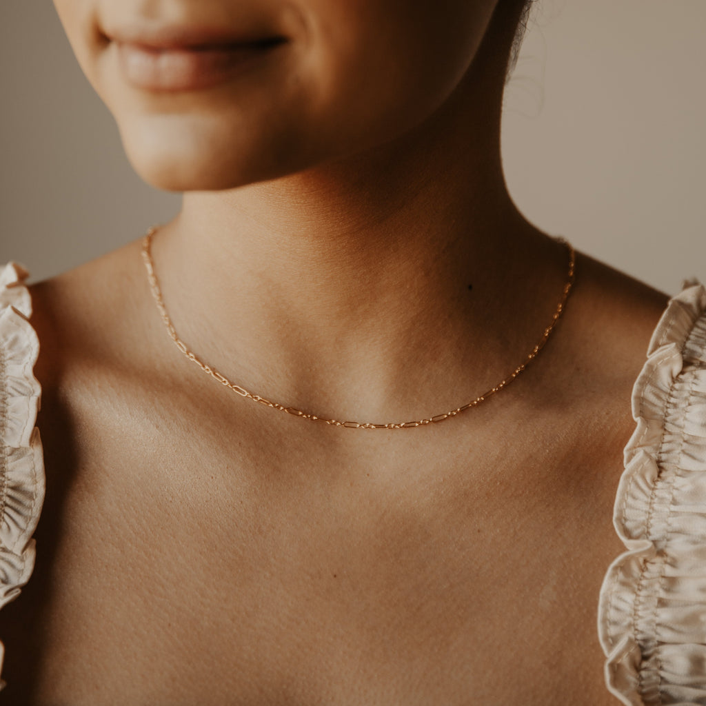 Thin Elongated Oval & Round Link Chain Necklace