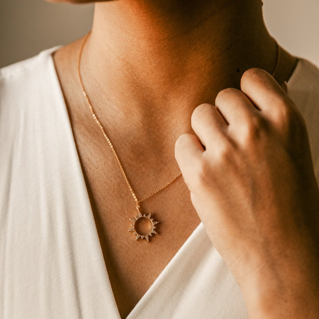Cutout CZ Sun Necklace