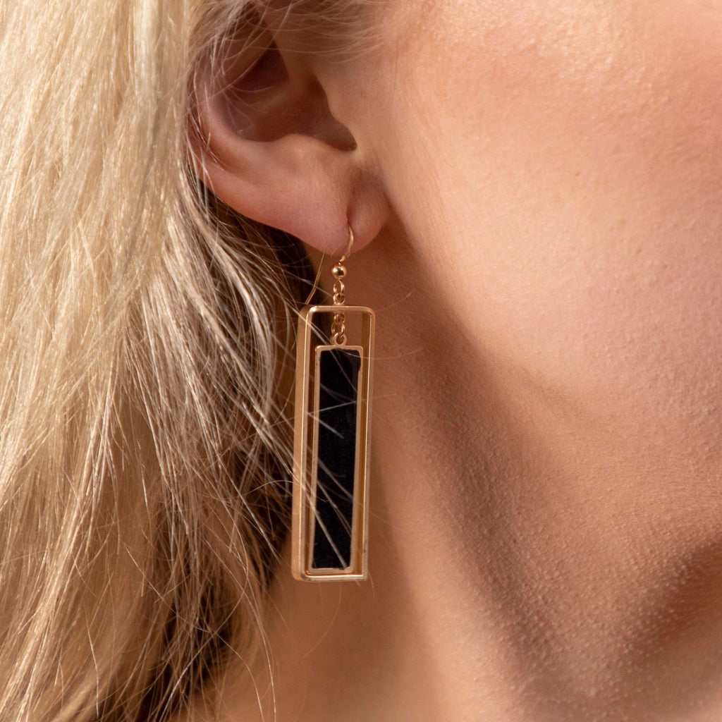 Open Rectangle Stone Drop Earrings (more colors)