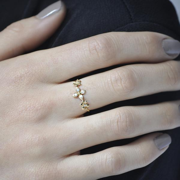Solid Gold Triple CZ Floral Adjustable Chain Link Ring