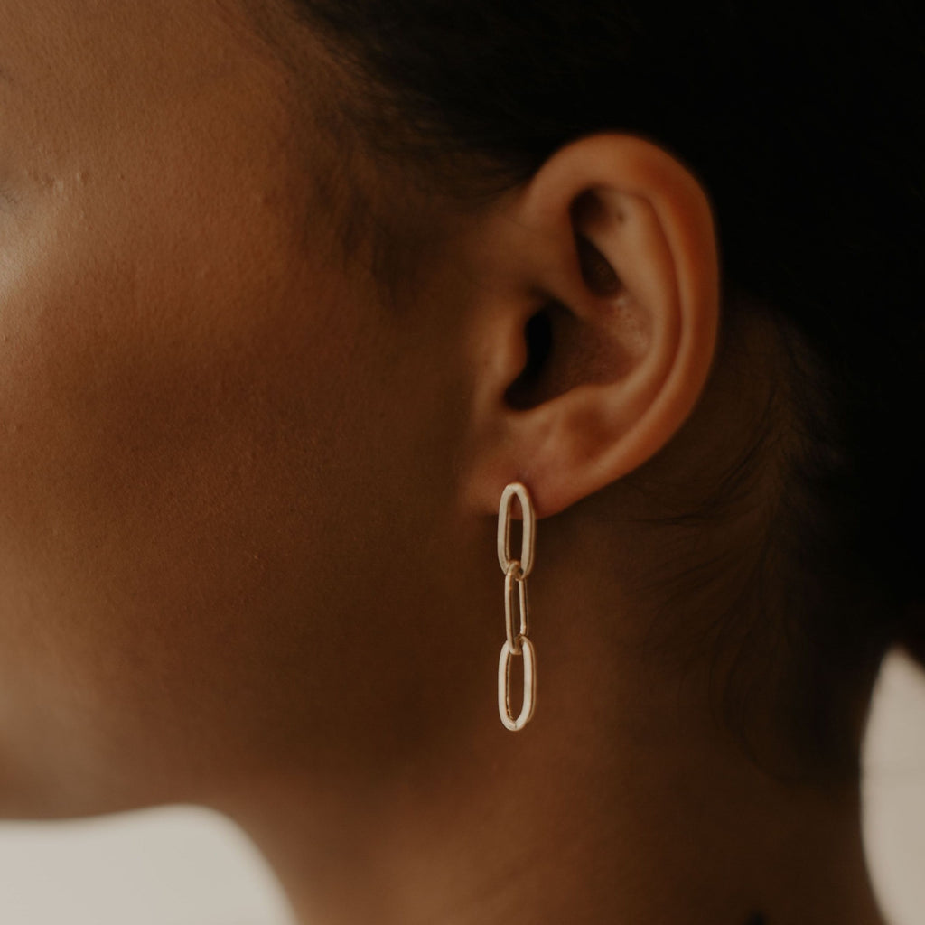 Thick Triple Paperclip Studs
