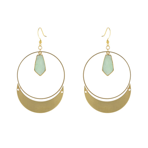 Stone Dangle & Crescent Hoop Earrings