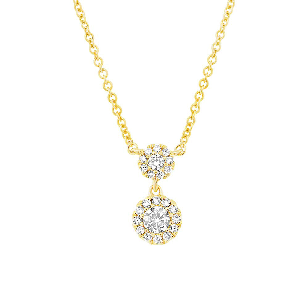 Diamond 2 Solitaire Pave Pendant Necklace