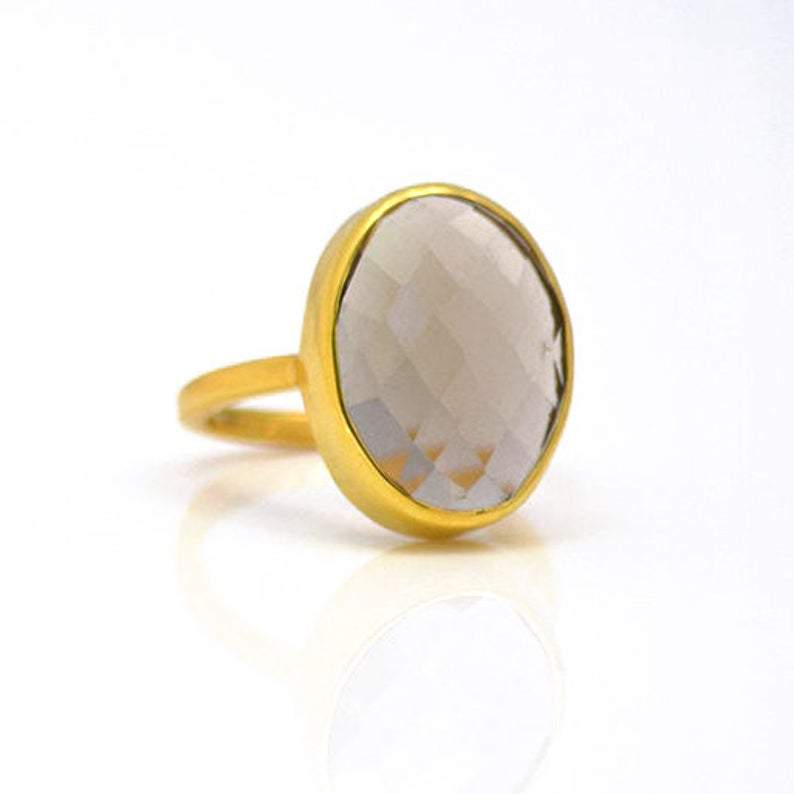 SALE - LARGE SMOKY QUARTZ OVAL GOLD BEZEL RING