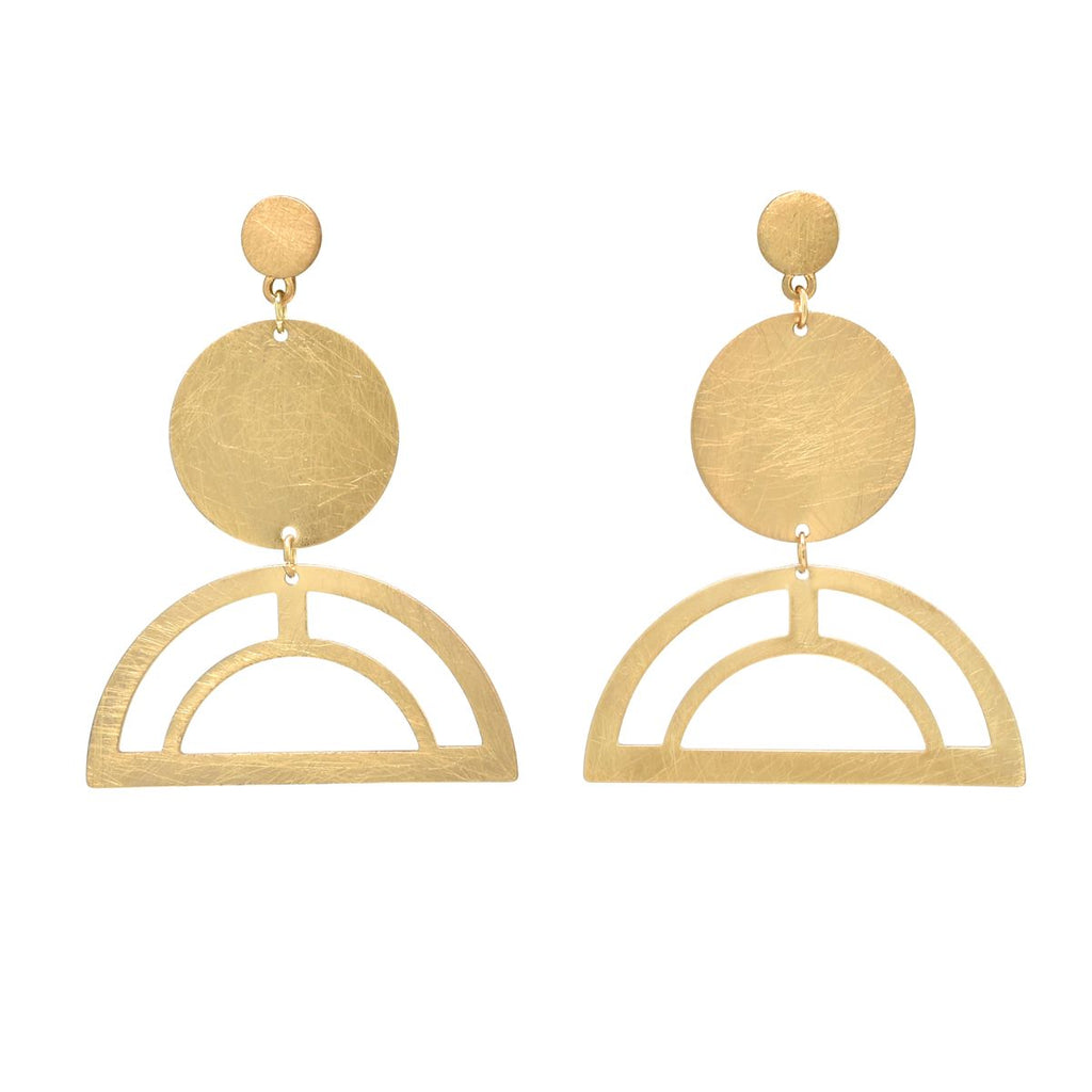 SALE - Tiered Brushed Circle Drop Studs