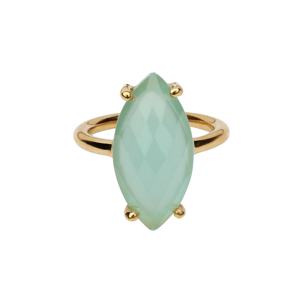 SALE - Seamfoam Chalcedony Marquise Gold Bezel Ring