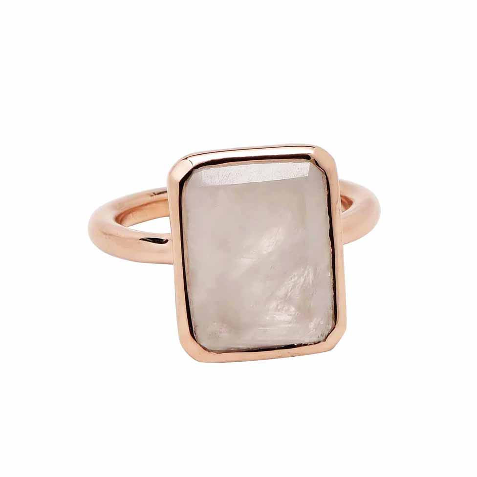 SALE - Large Moonstone Baguette Rose Gold Bezel Ring