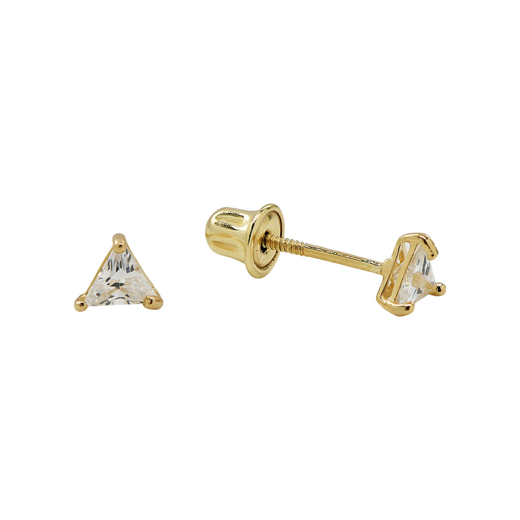 SALE - 10k Solid Gold Single CZ Triangle Prong Studs