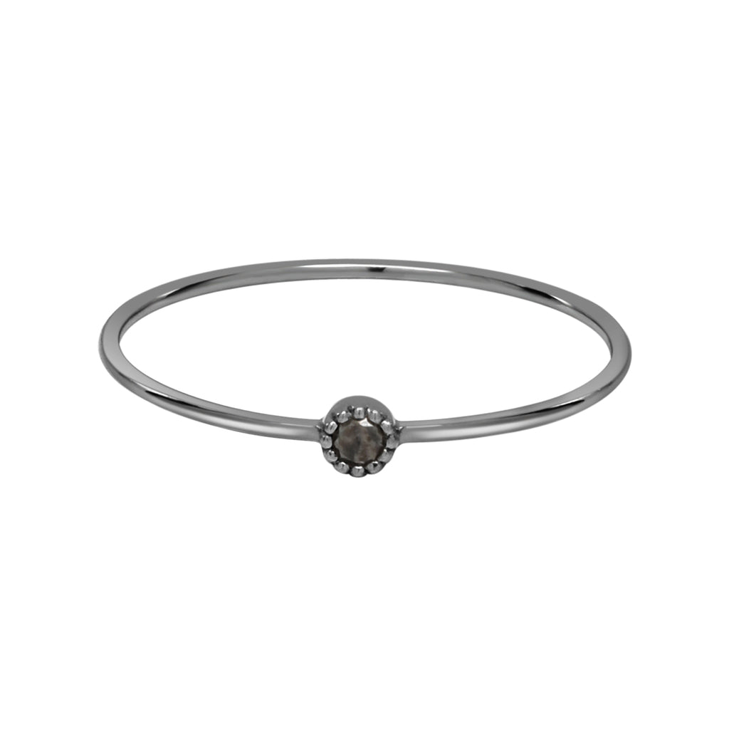 18K Tiny Circle Black Diamond Ring