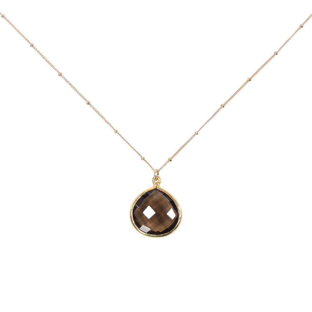 Bezel Teardrop Stone Necklace