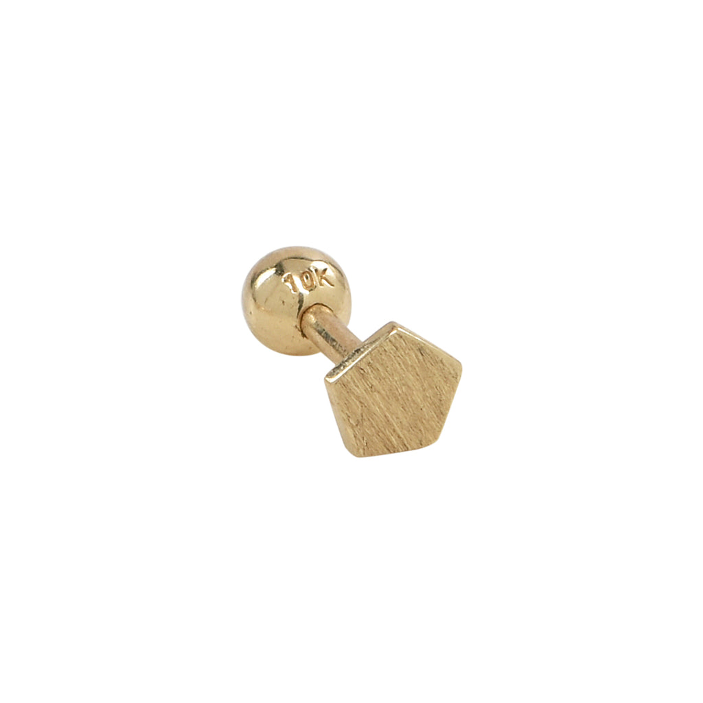 Solid Gold Brushed Pentagon Tragus Earring
