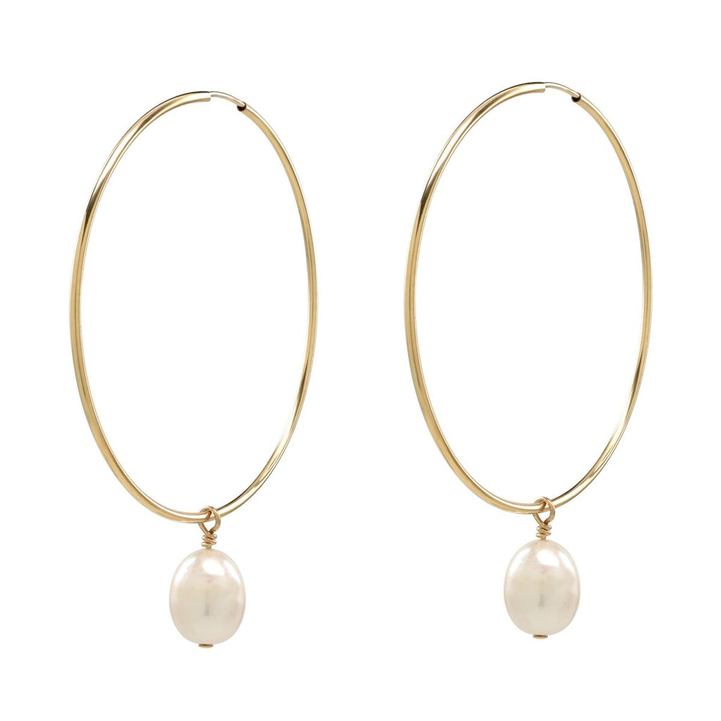 Detachable Pearl Hoop Earrings