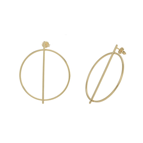 Middle Bar Over Circle Post Earrings