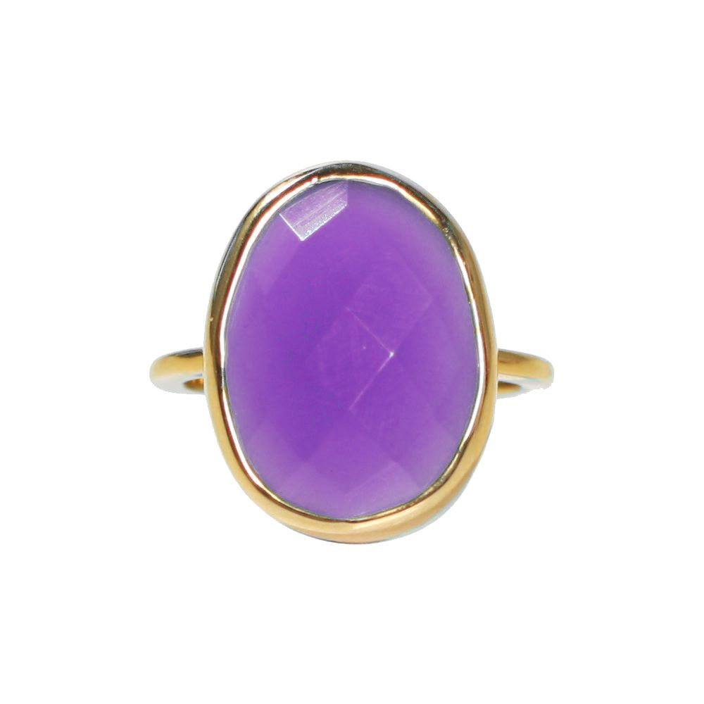 SALE - LARGE AMETHYST OVAL GOLD BEZEL RING