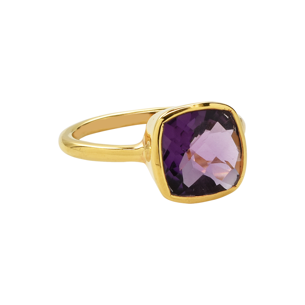 SALE - Small Amethyst Square Gold Bezel Ring