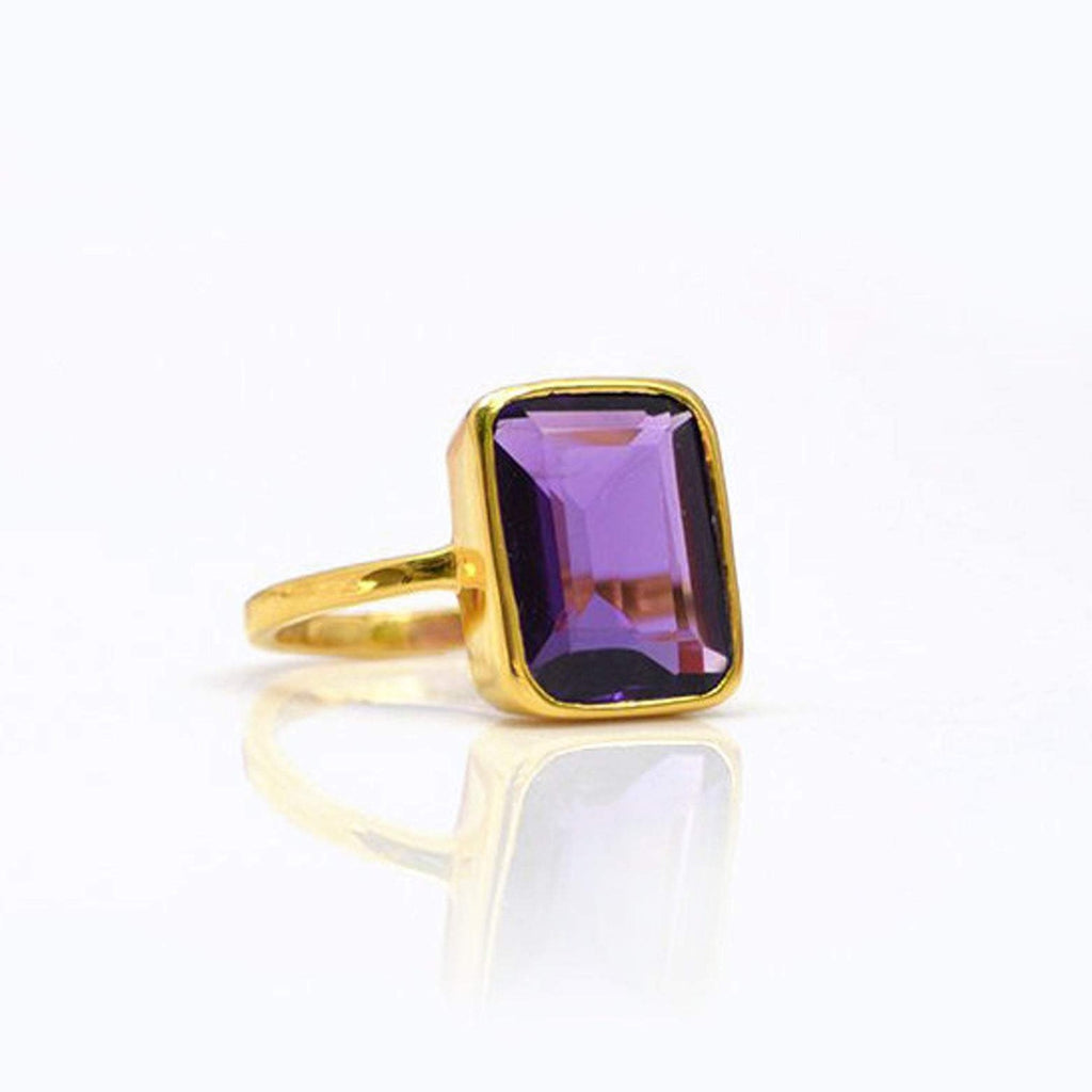 SALE - Large Amethyst Baguette Gold Bezel Ring