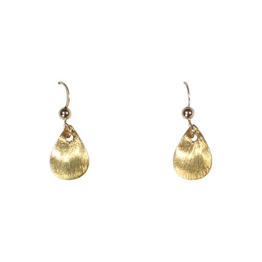 SALE - Curved Brushed Teardrop Earrings