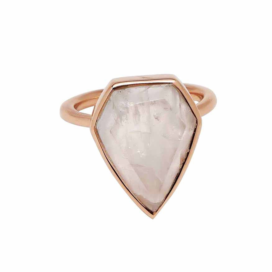 SALE - Moonstone Diamond Shape Rose Gold Bezel Ring