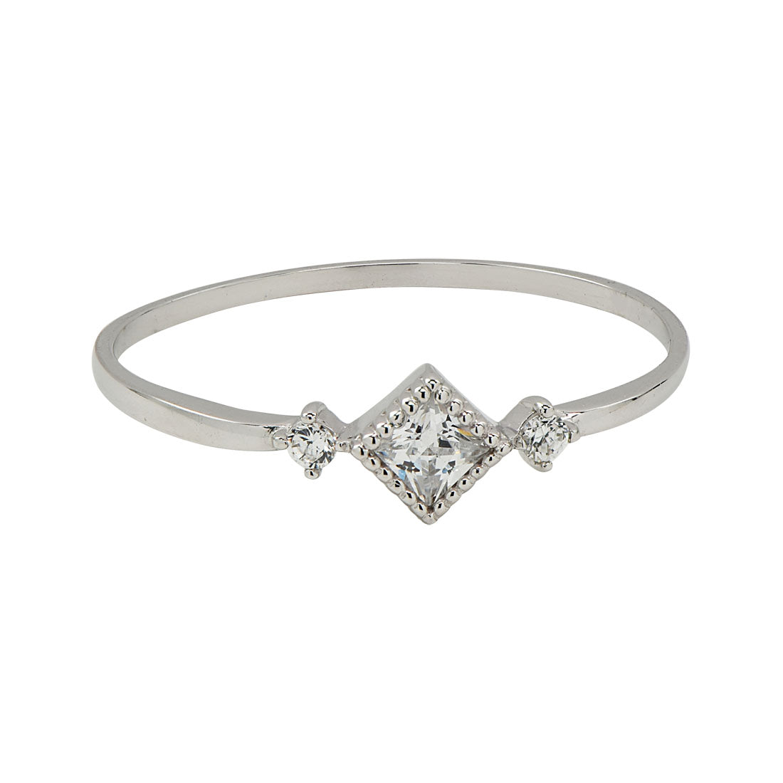 10k Solid Gold CZ Diamond/ 2 Side CZ Ring