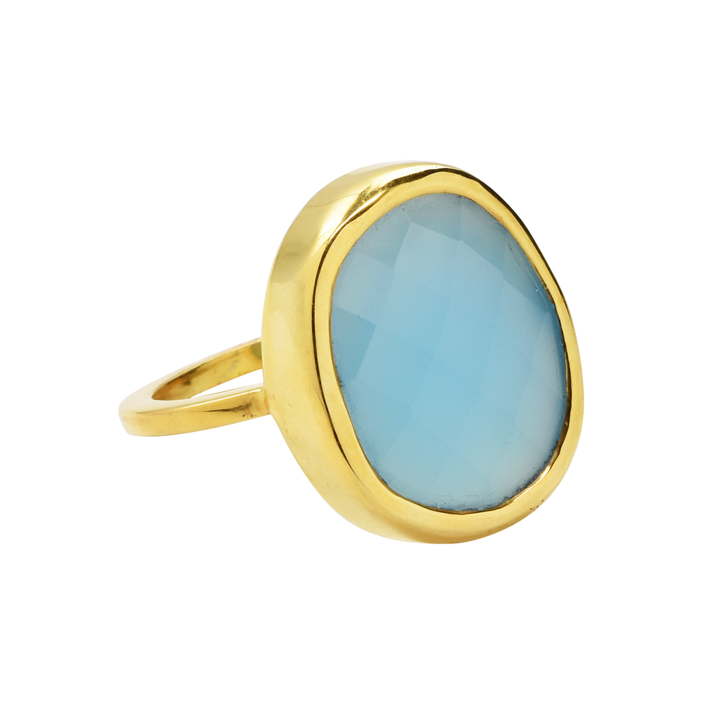 SALE - Large Blue Chalcedony Oval Gold Bezel Ring