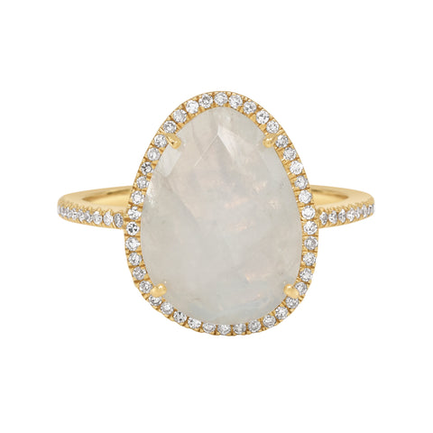 14K Diamond Moonstone Ring