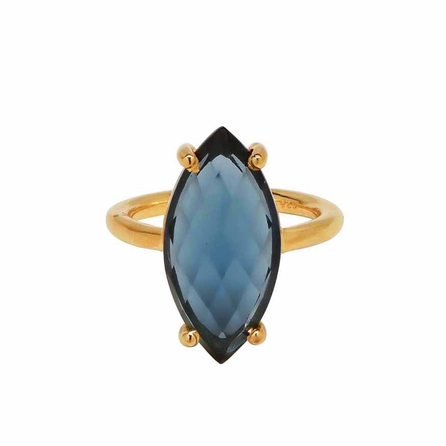SALE - Blue Hydro Quartz Marquise Gold Bezel Ring