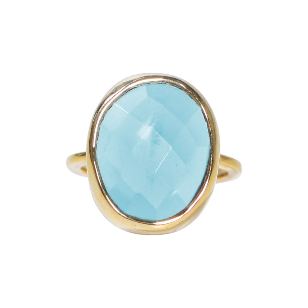 SALE - LARGE BLUE HYDRO QUARTZ OVAL GOLD BEZEL RING