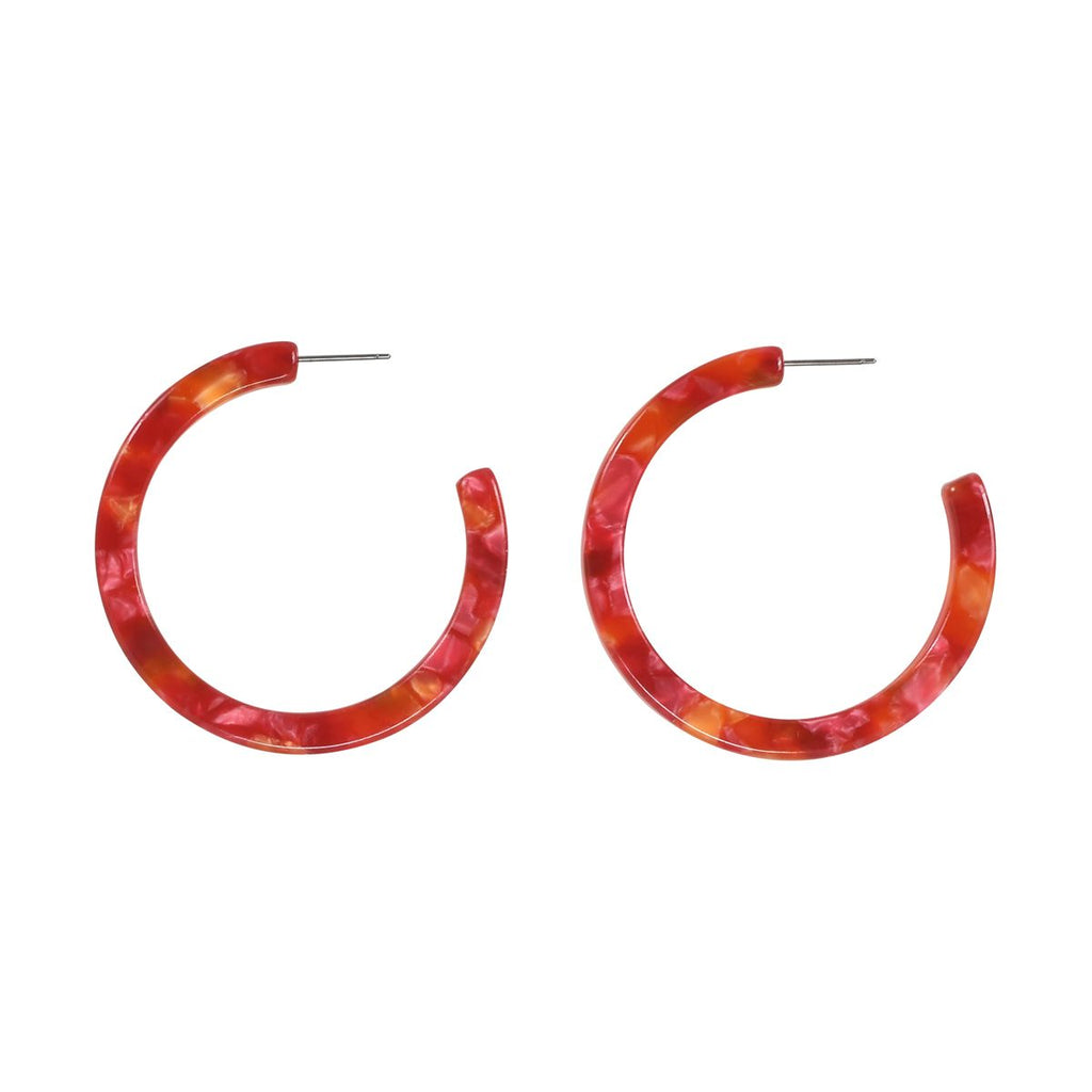 SALE - Blood Orange Lucite Hoops