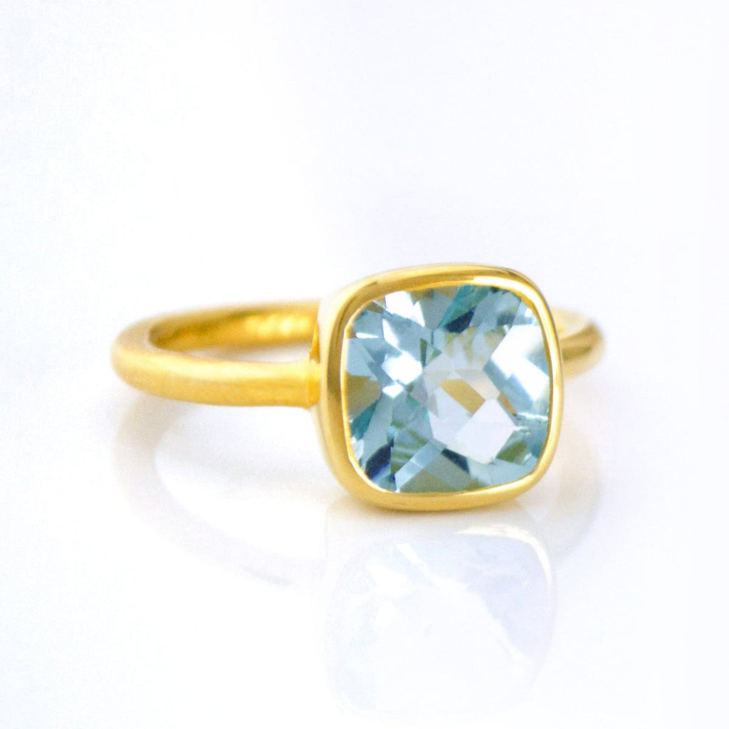 SALE - SMALL BLUE HYDRO QUARTZ SQUARE GOLD BEZEL RING
