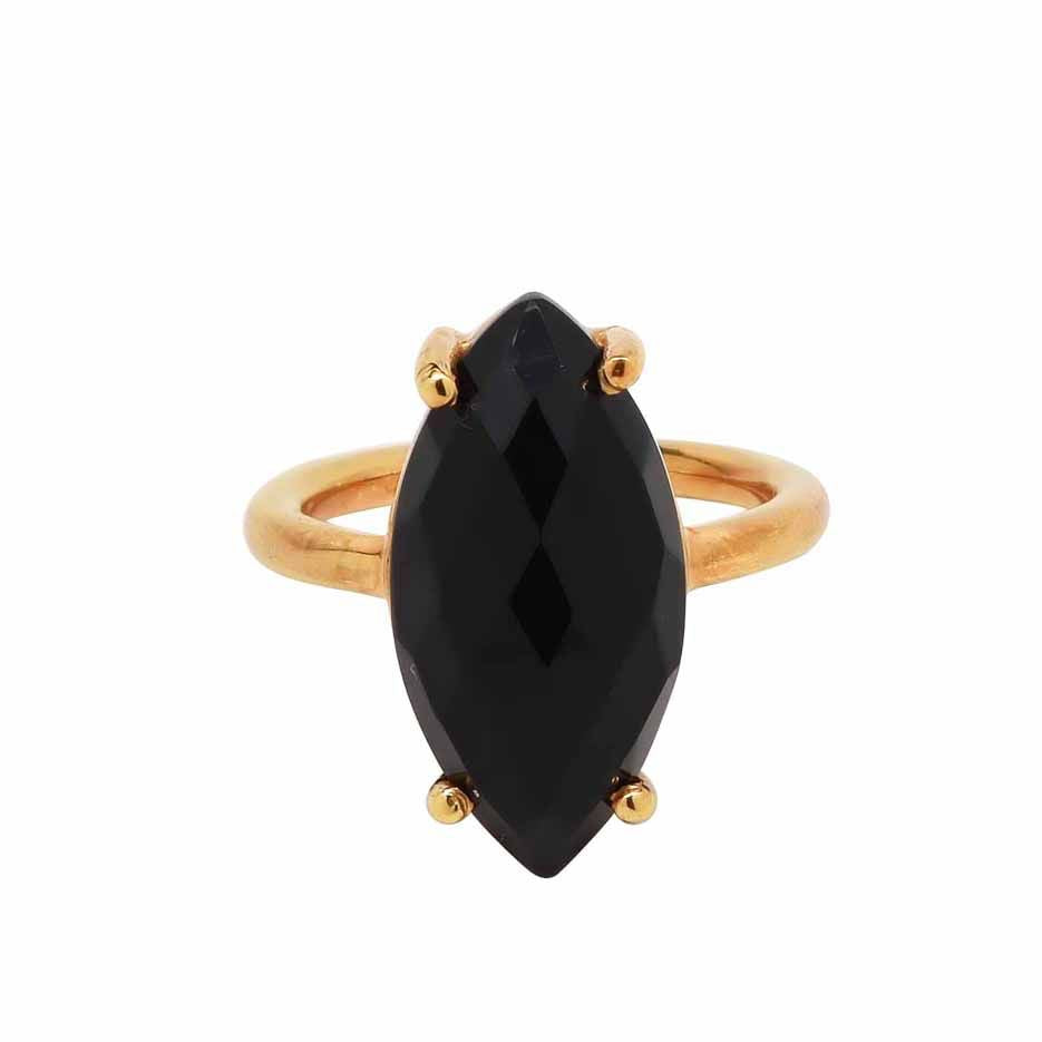 SALE - Black Onyx Marquise Gold Bezel Ring
