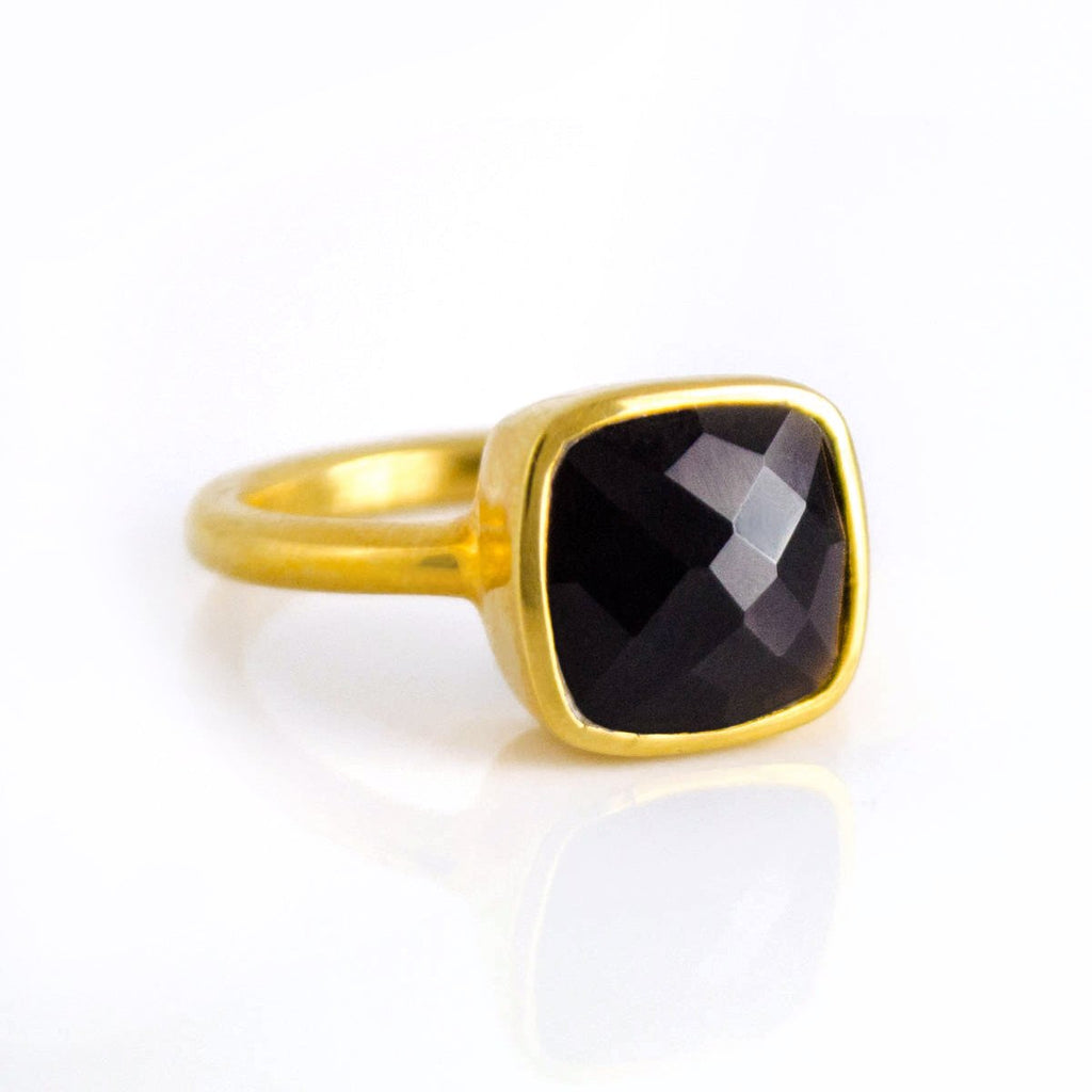 SALE - SMALL BLACK ONYX SQUARE GOLD BEZEL RING