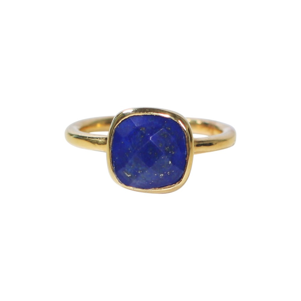 SALE - Small Lapis Square Gold Bezel Ring